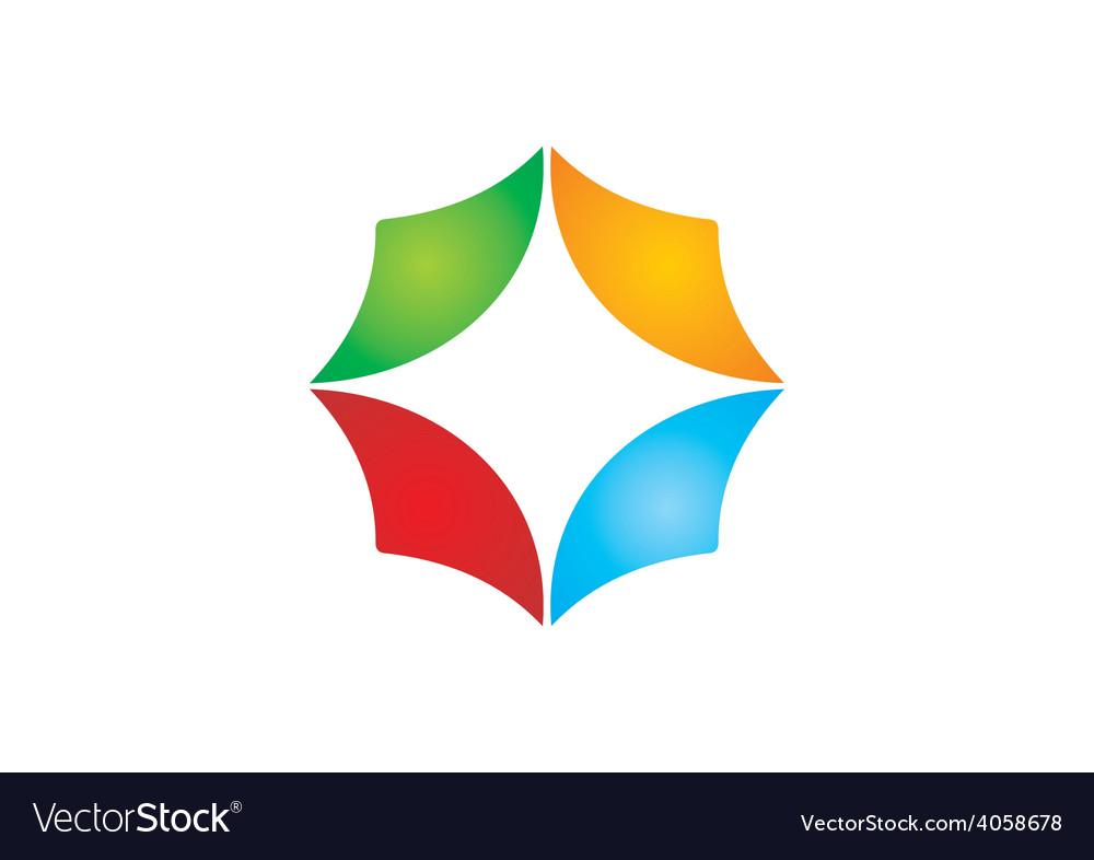Circular shape business color logo vector