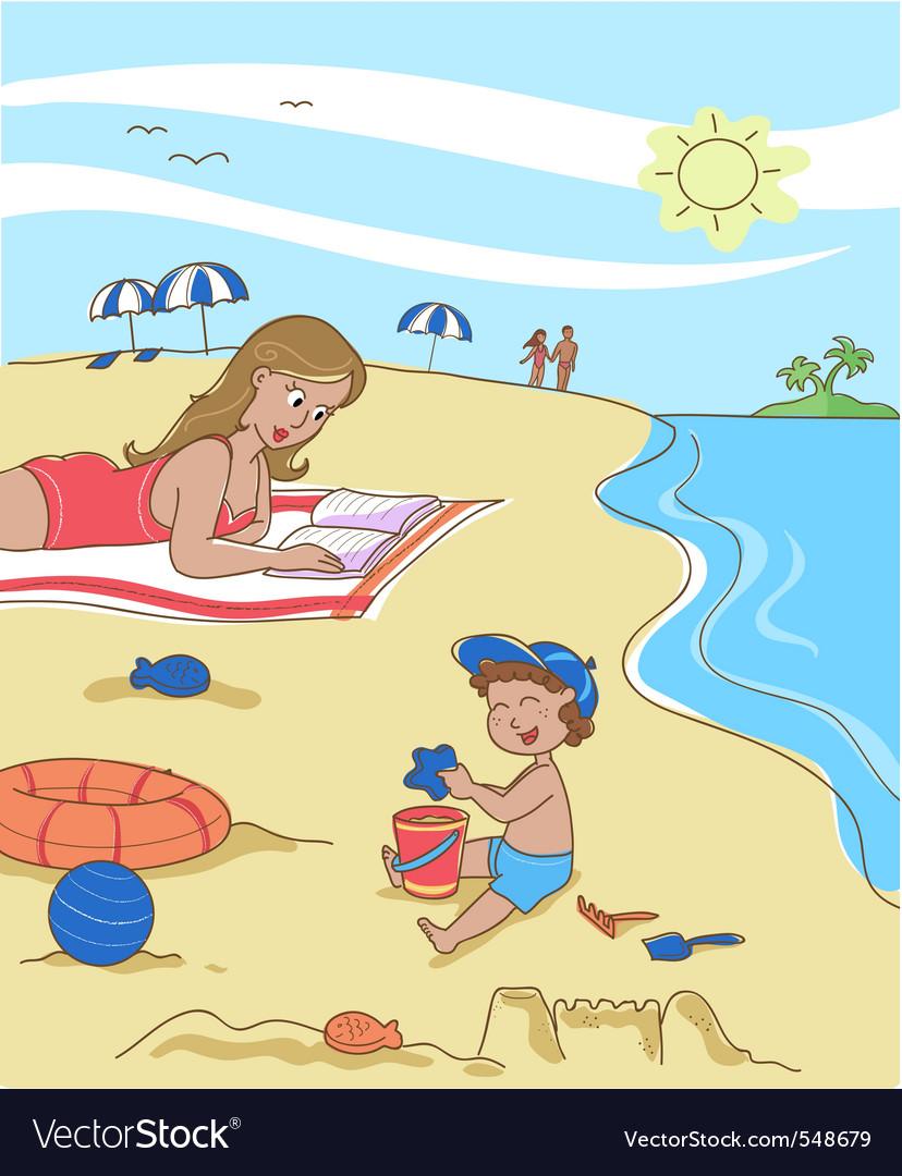 Family on the beach vector