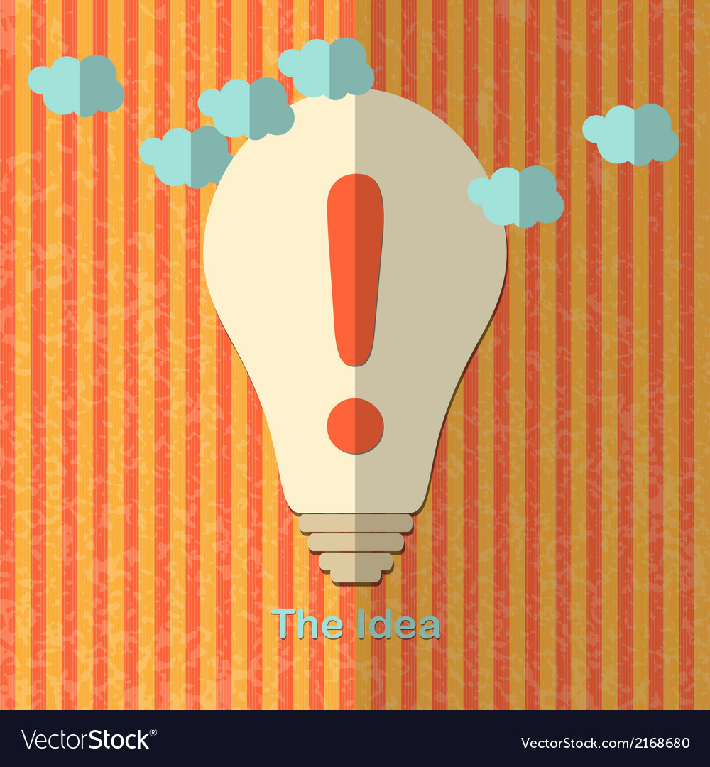 Lamp with exclamation mark vector