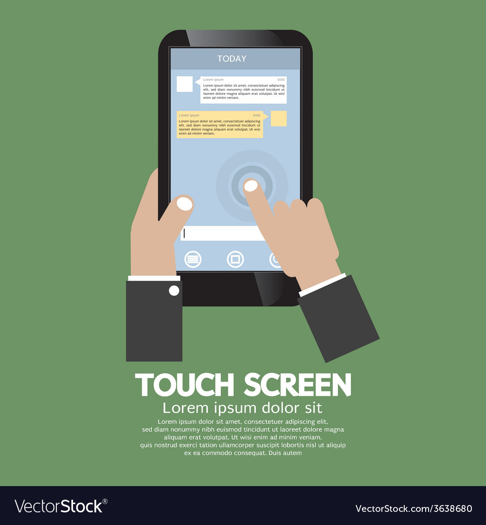Touch screen on smartphone vector
