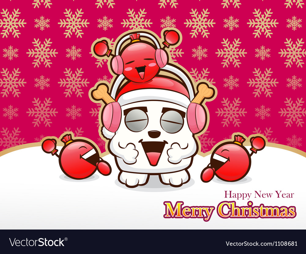 Christmas cards in exciting music with a bomb vector
