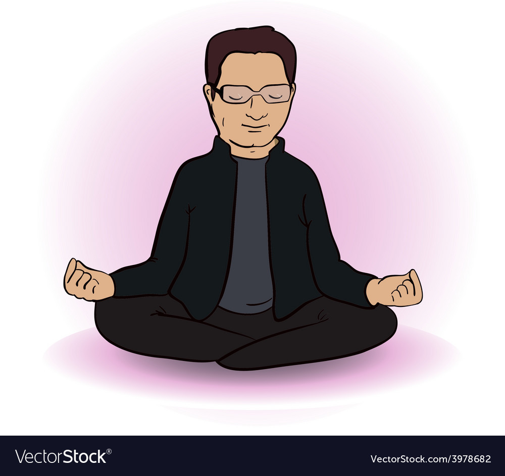 Calm indian man sitting in lotus pose on white vector