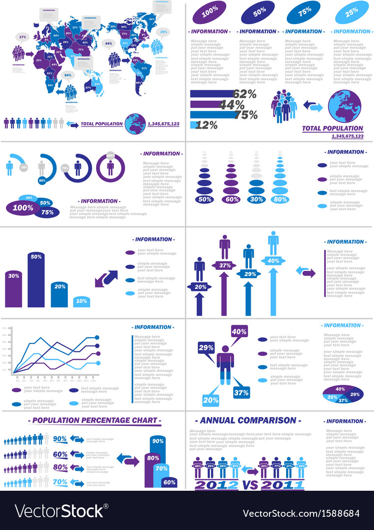 Infographic demographics web elements purple vector