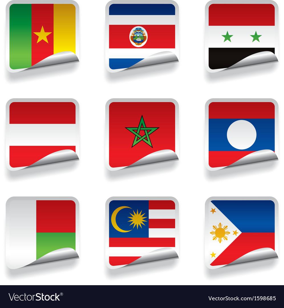 Sticker flags vector