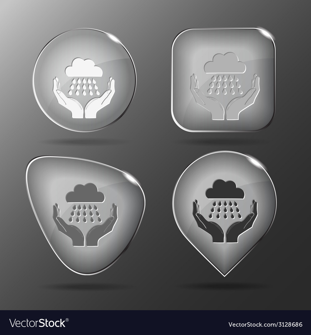 Weather in hands glass buttons vector