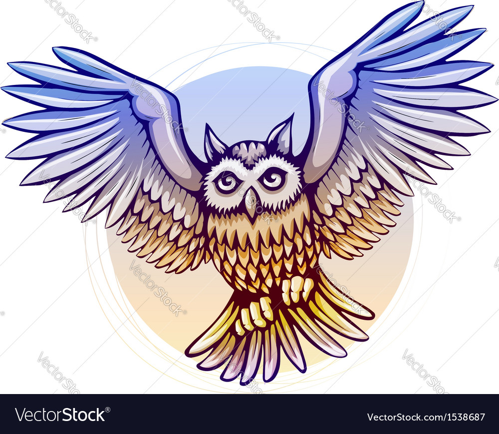 Flying cartoon owl with color vector
