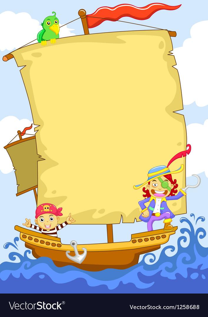 Cartoon pirate banner ship vector