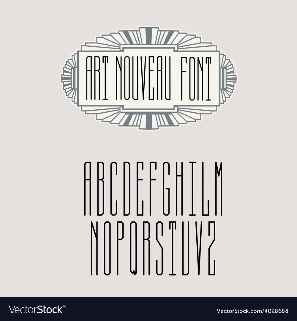 Stylish graceful monogram in art nouveau style vector