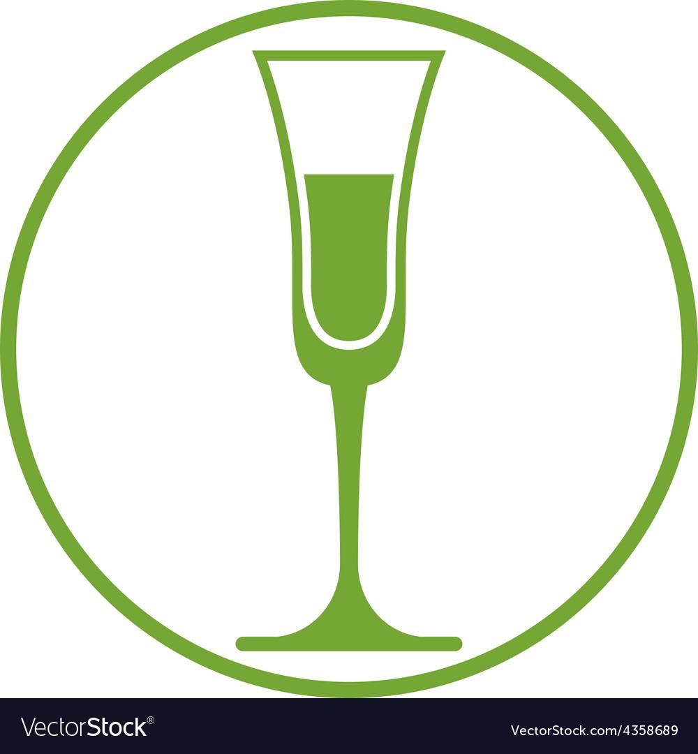 Classic champagne glass alcohol beverage theme li vector