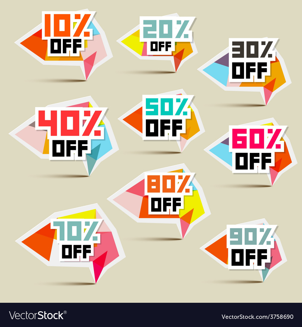 Paper discount stickers labels vector