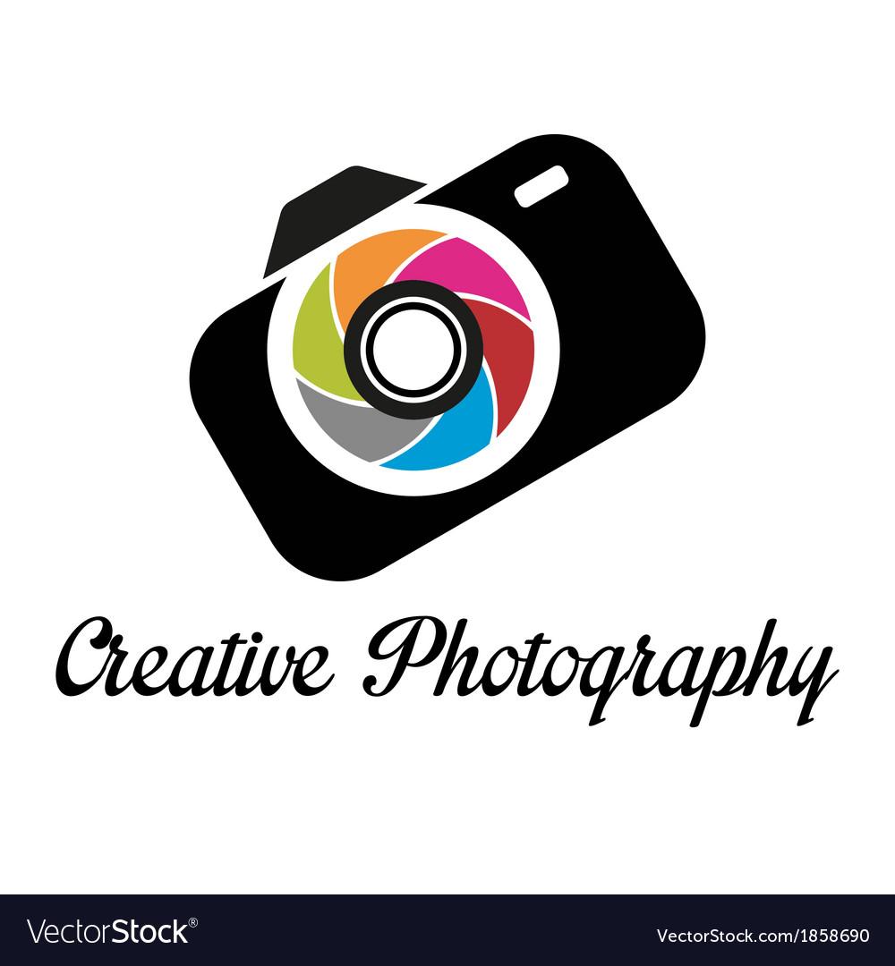 Photographer studio logo template vector