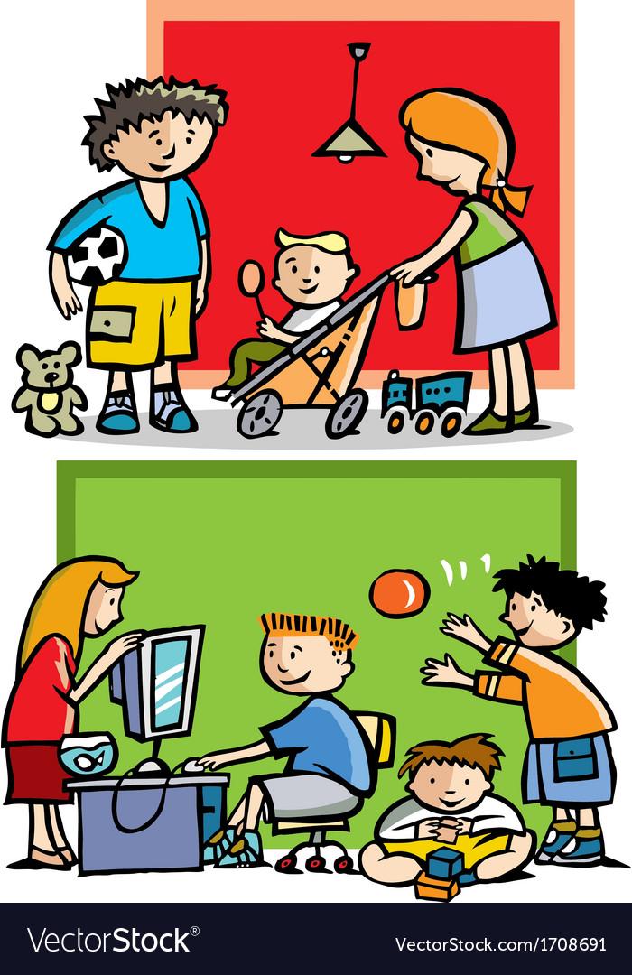 Children playing vector