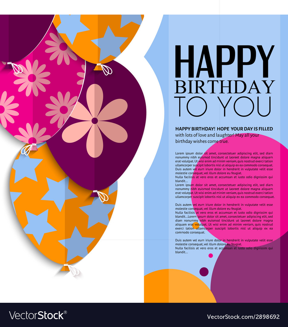 Birthday card with paper balloons and text vector