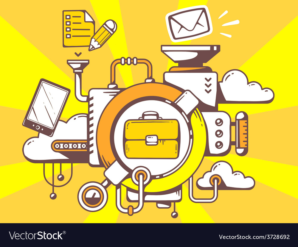 Mechanism with briefcase and office icons vector