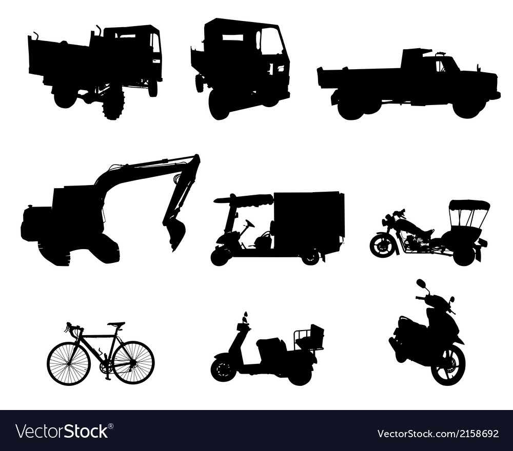 Silhouette set of vehicle vector