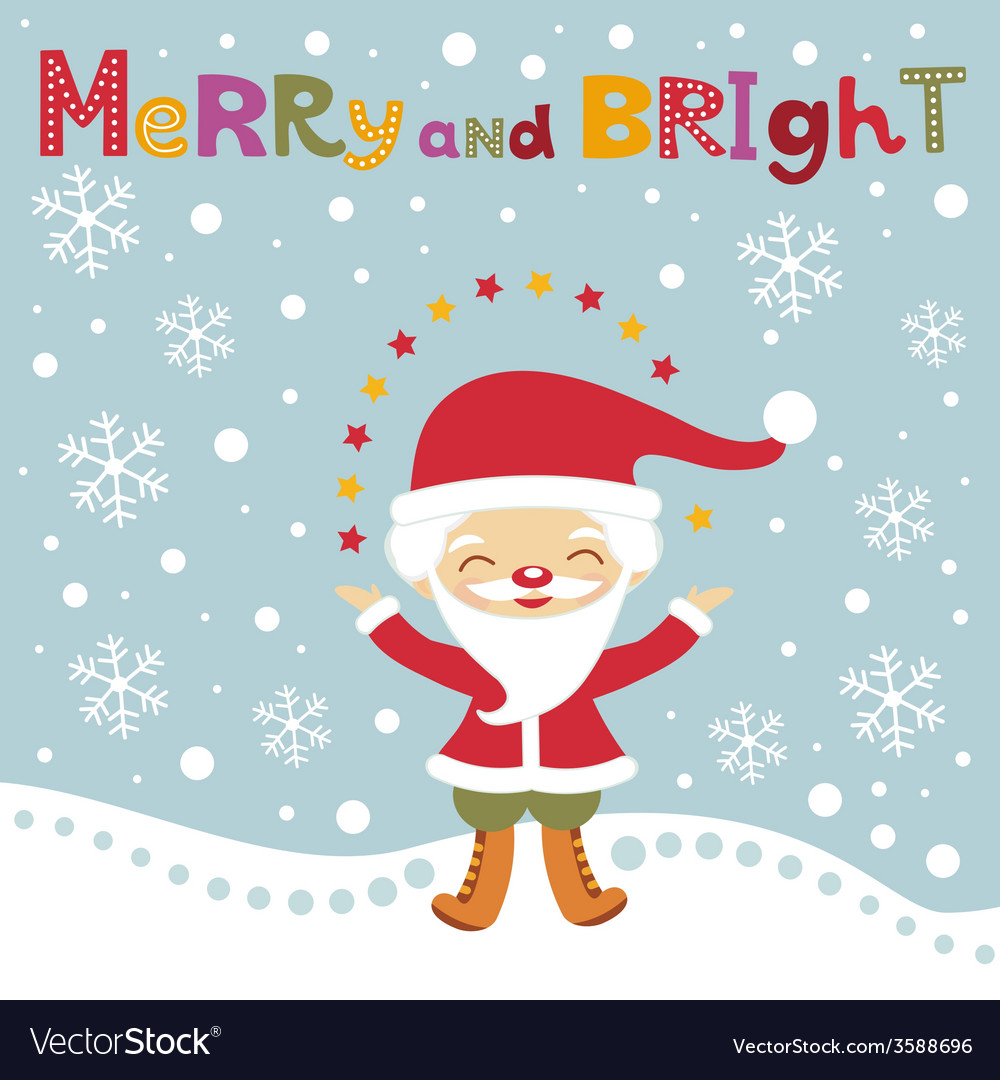 Cute santa christmas card vector