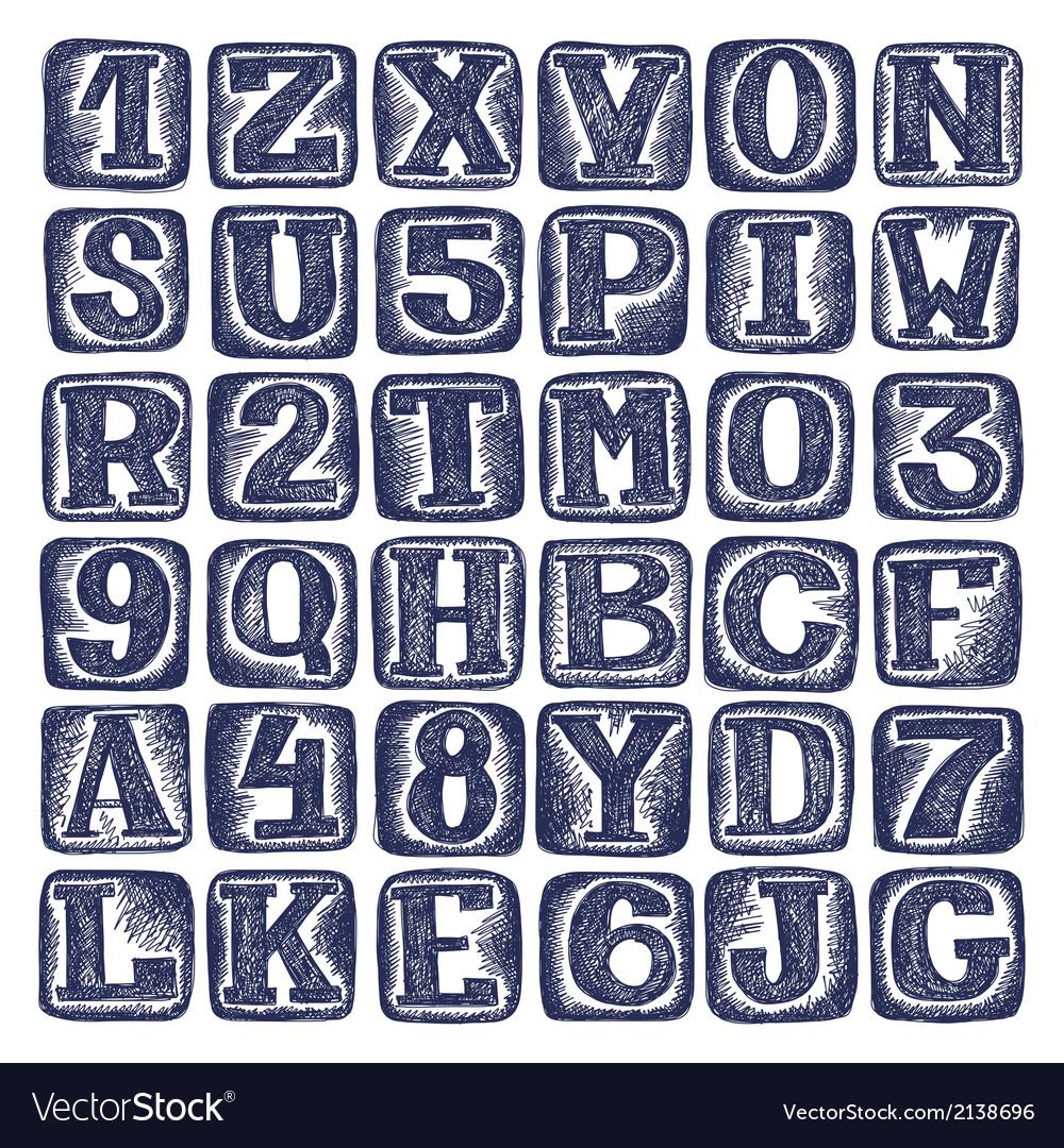 Hand draw sketch doodle alphabet design vector