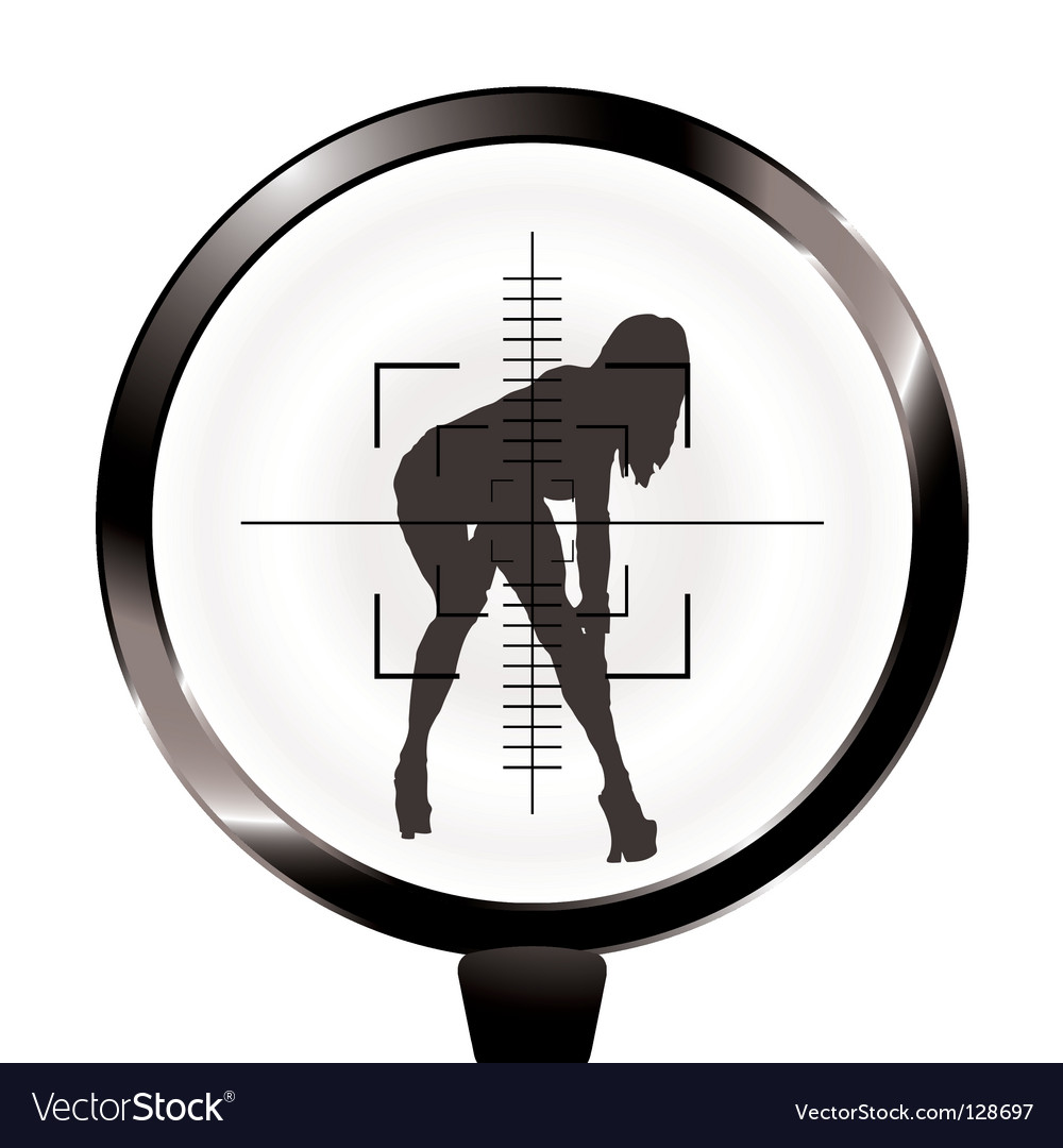 Sexy girl and rifle target vector