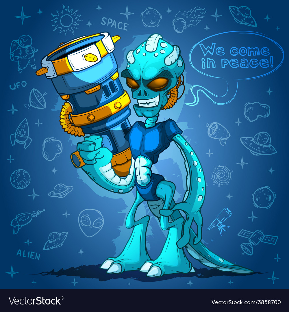 Spiteful alien space invader with arms vector