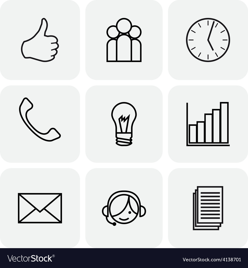 Communication and bussines icons vector