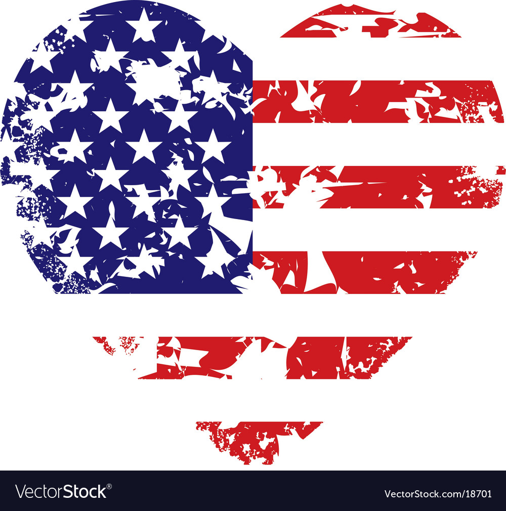 Grunge american flag heart background vector