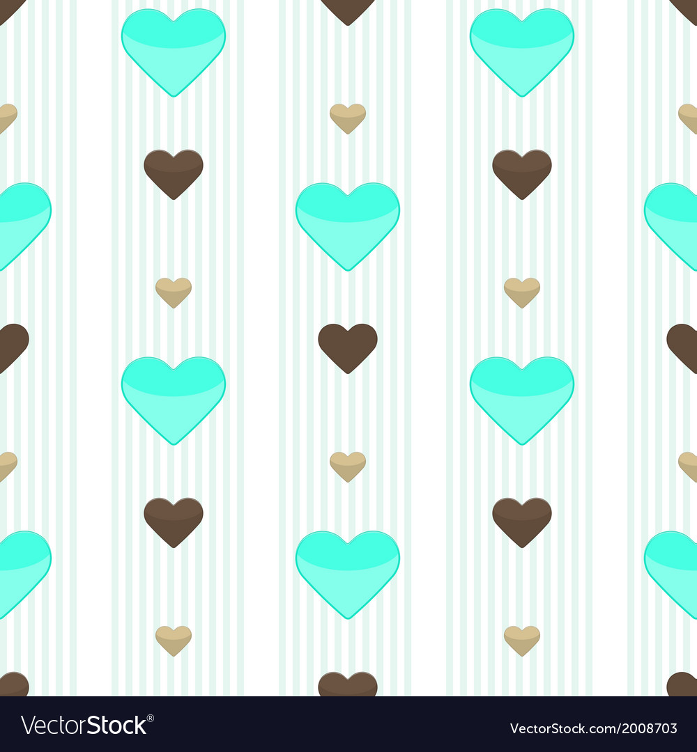 Seamless heart blue stripped pattern vector