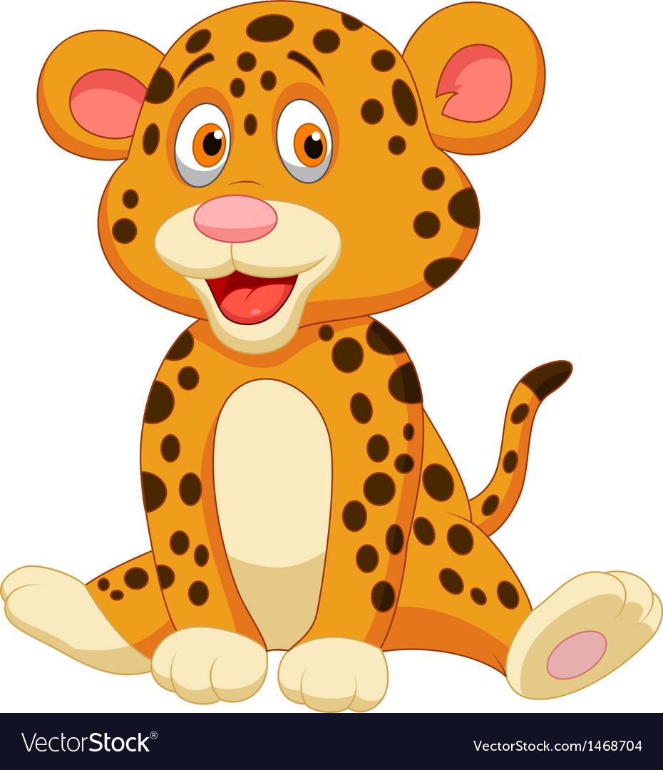 Cute leopard cartoon vector
