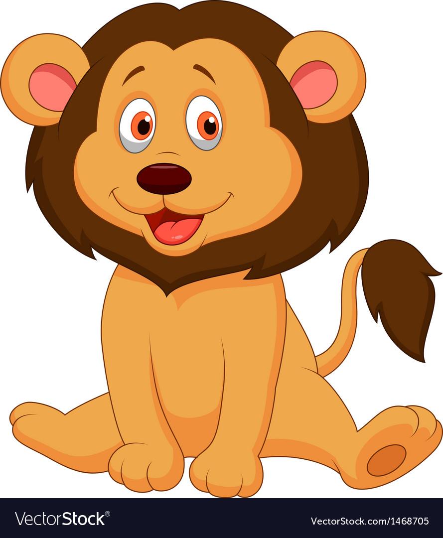 Cute baby lion cartoon vector