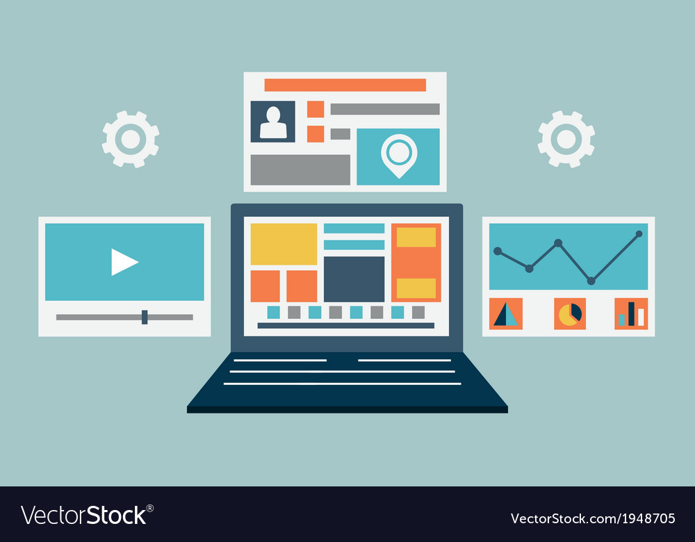 Laptop content rendering page vector