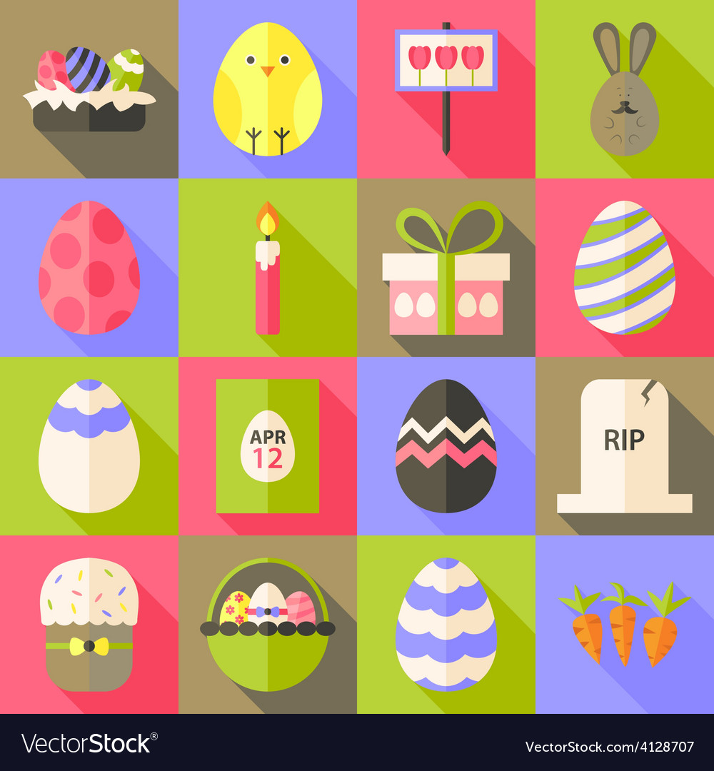 Easter flat styled icon set 1 with long shadow vector