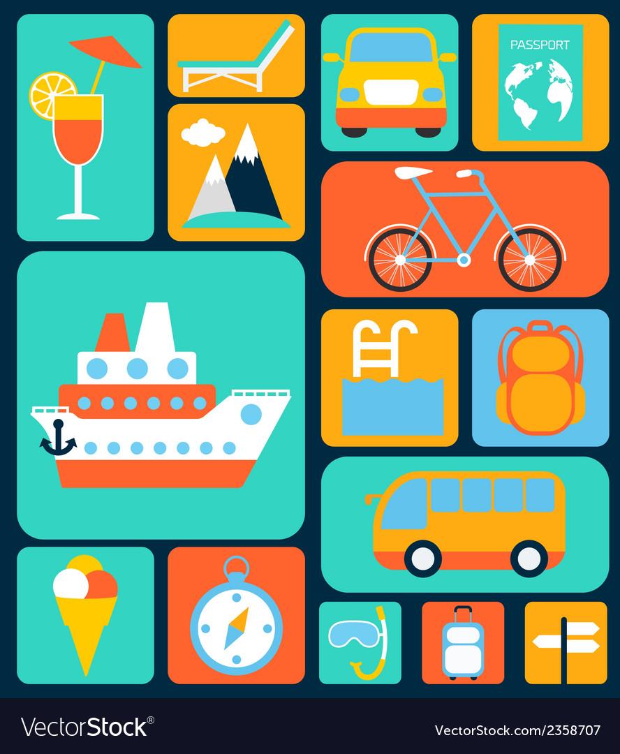 Travel flat icons set vector