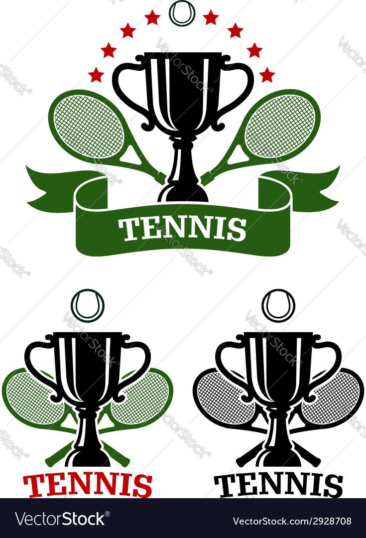 Big tennis sporting emblems vector
