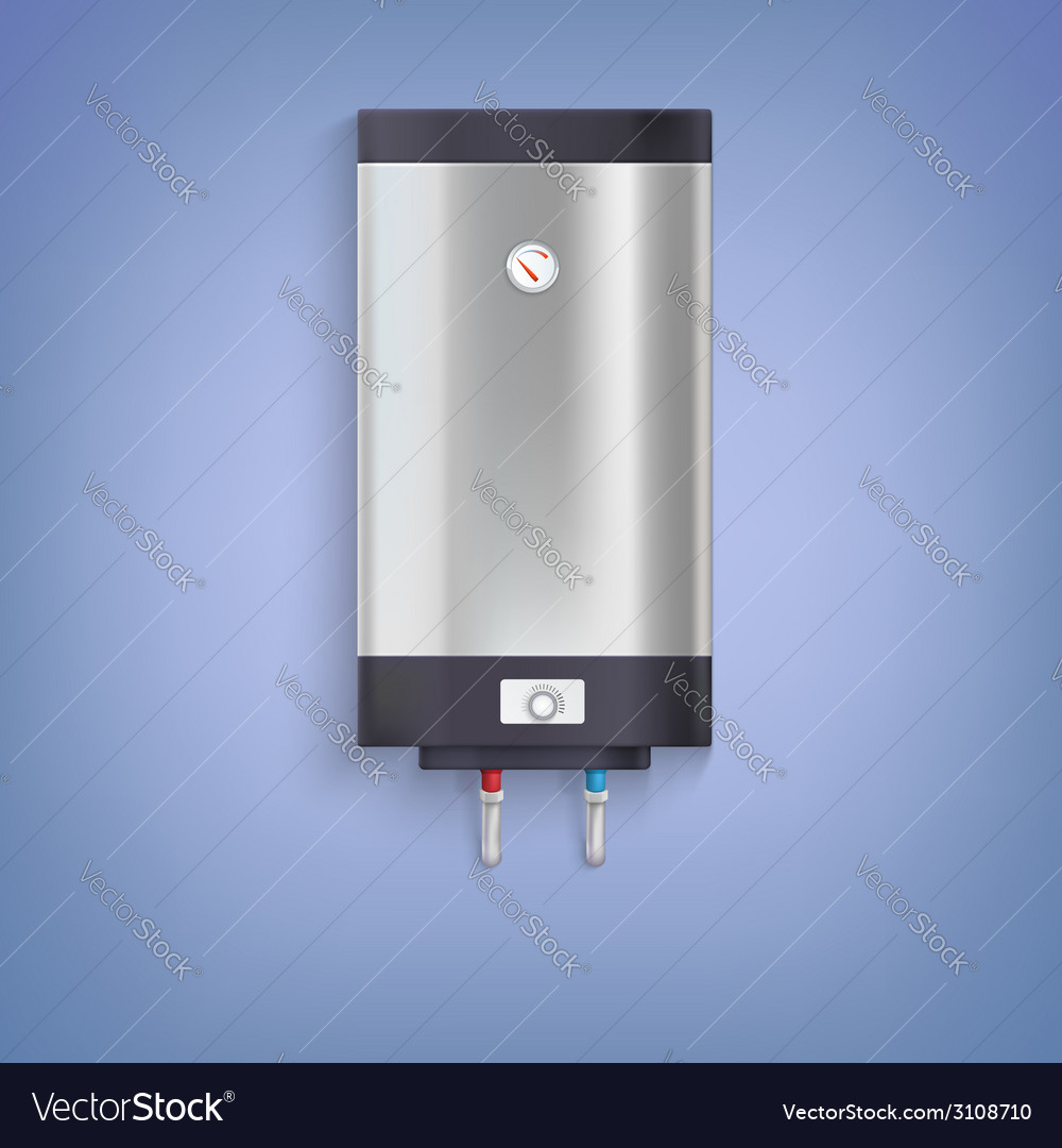 Hot-water tank chrome plated vector