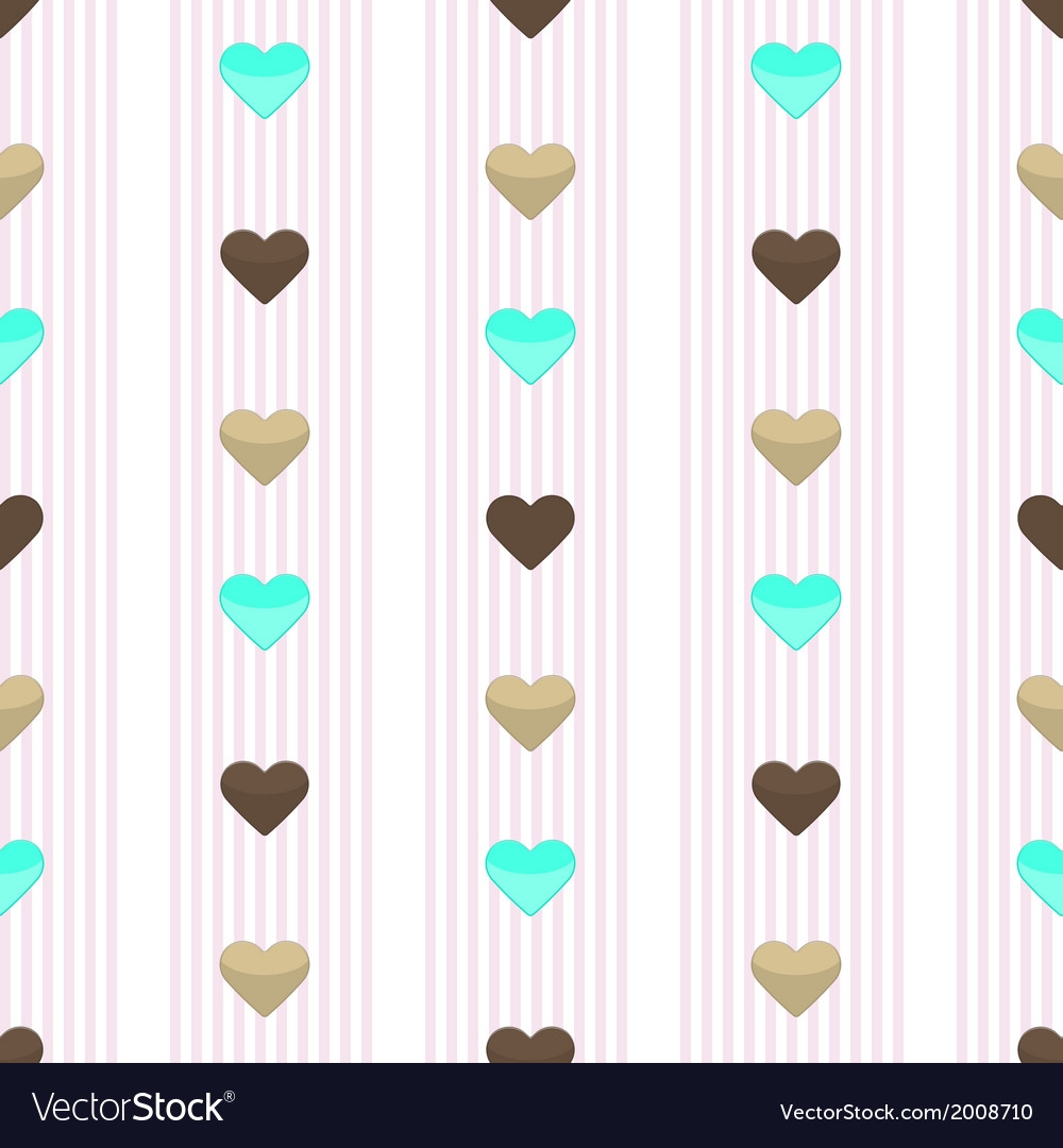 Seamless heart pink stripped pattern vector