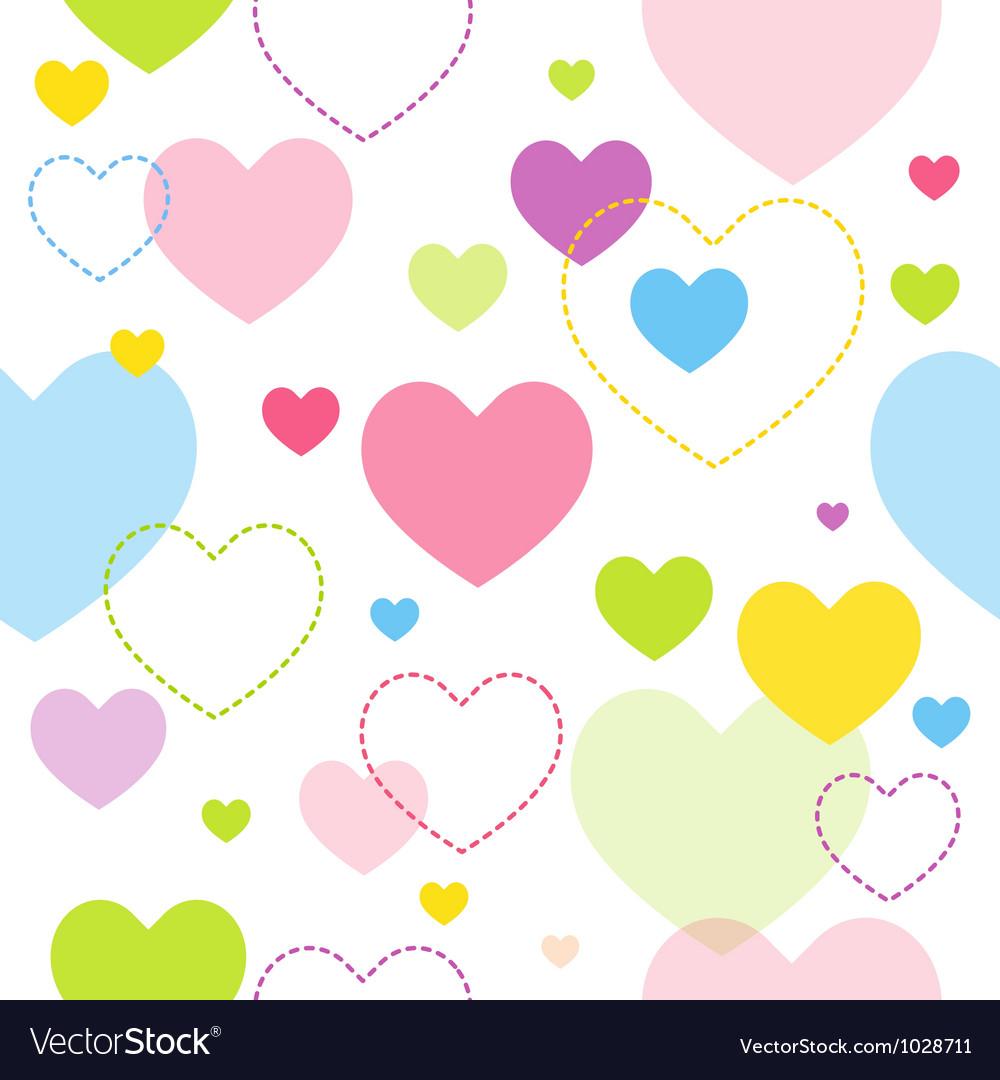 Spring hearts pattern vector