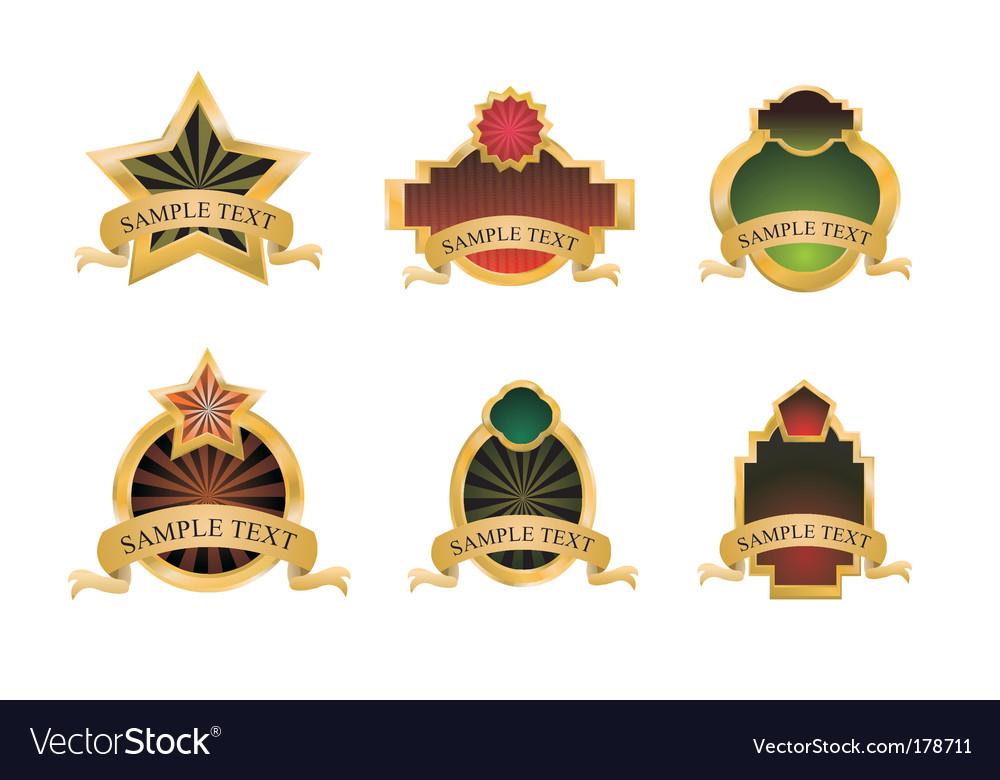 Vintage gold emblems vector