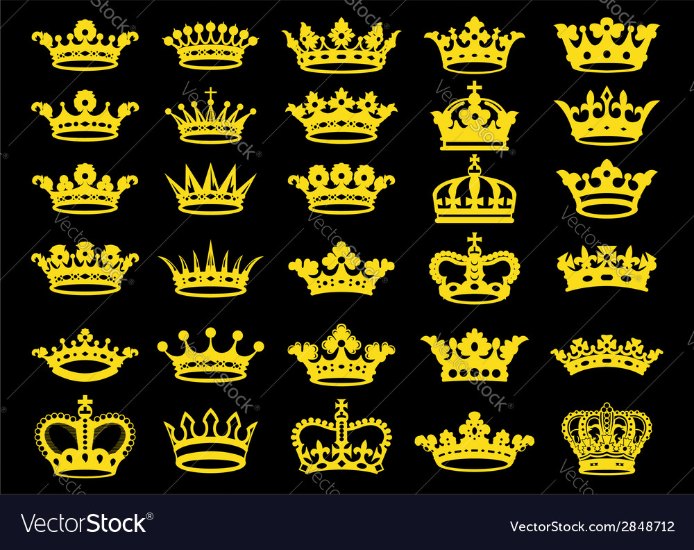 Silhouettes crowns set vector
