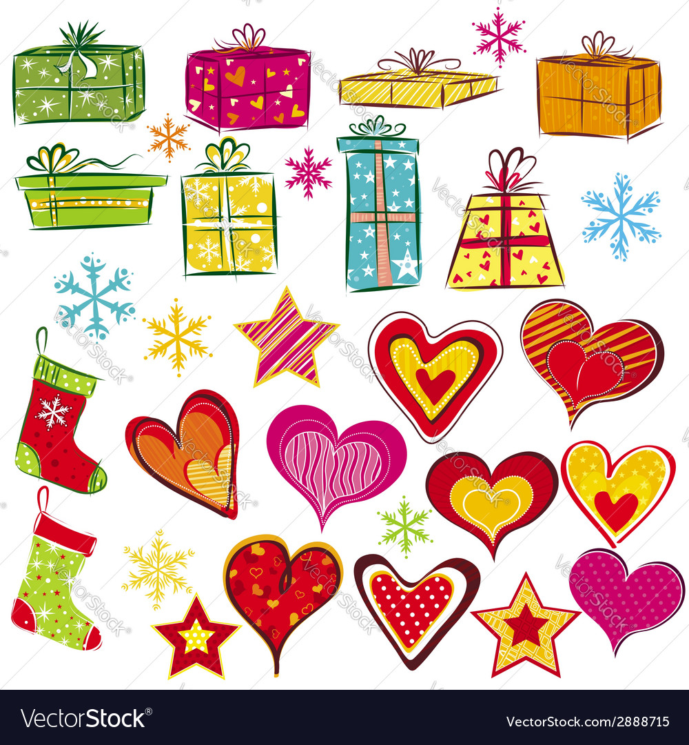 Color christmas gifts and valentines heart vector