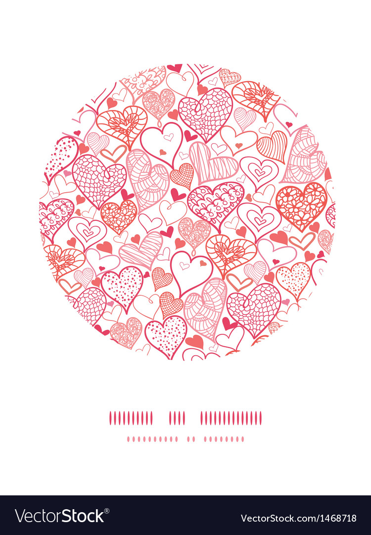 Romantic doodle hearts circle decor pattern vector