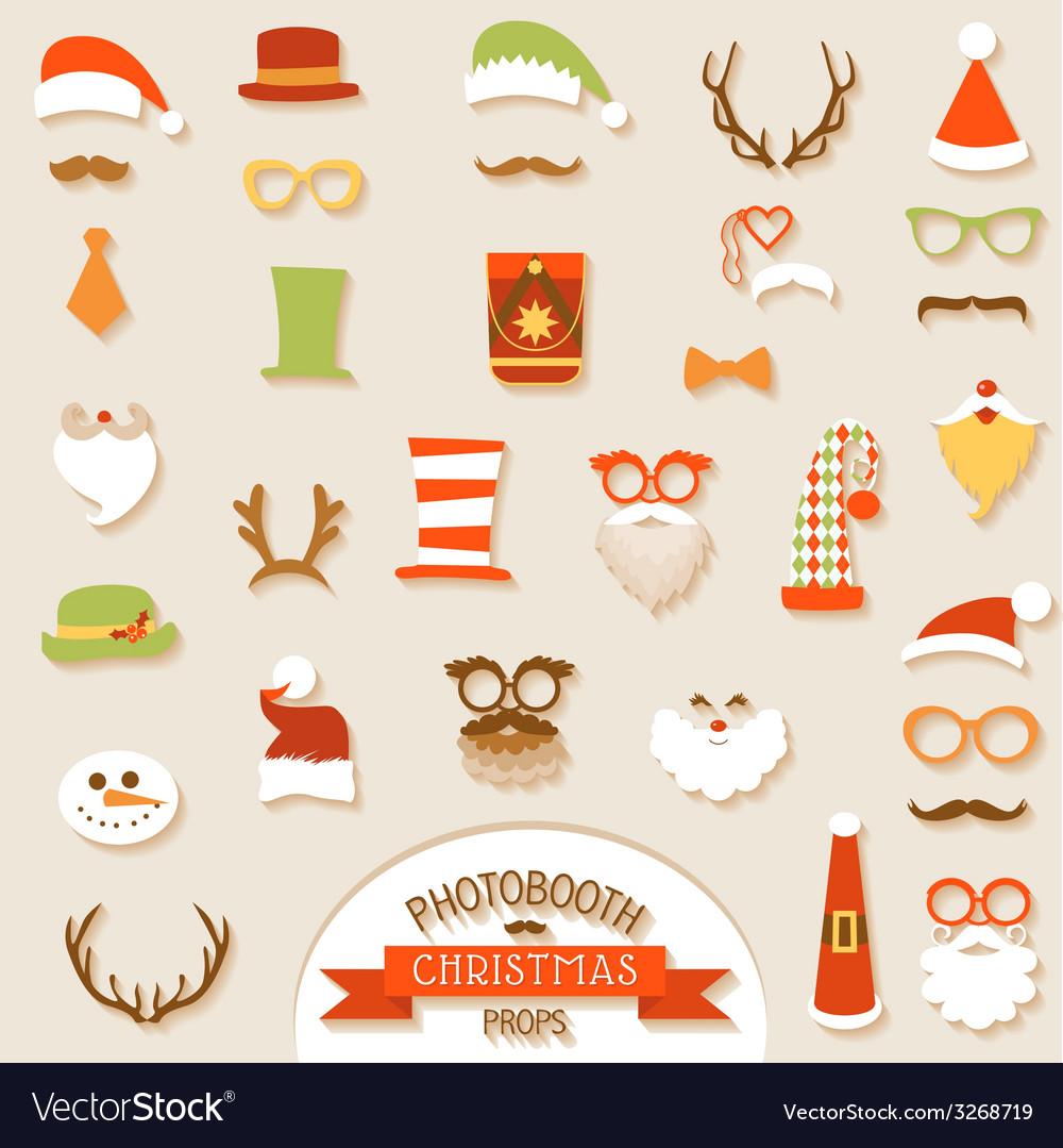 Christmas retro party set vector