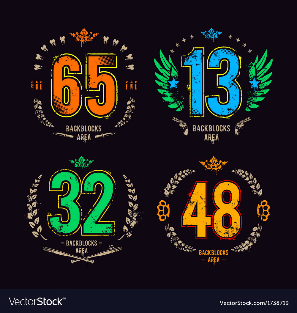 Grunge gangster lucky numbers vector