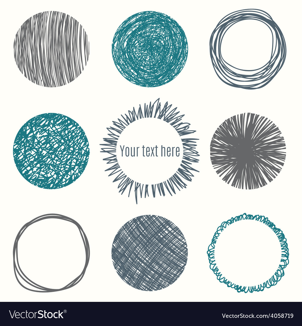 Hand drawn circle banners scribble shapes vector