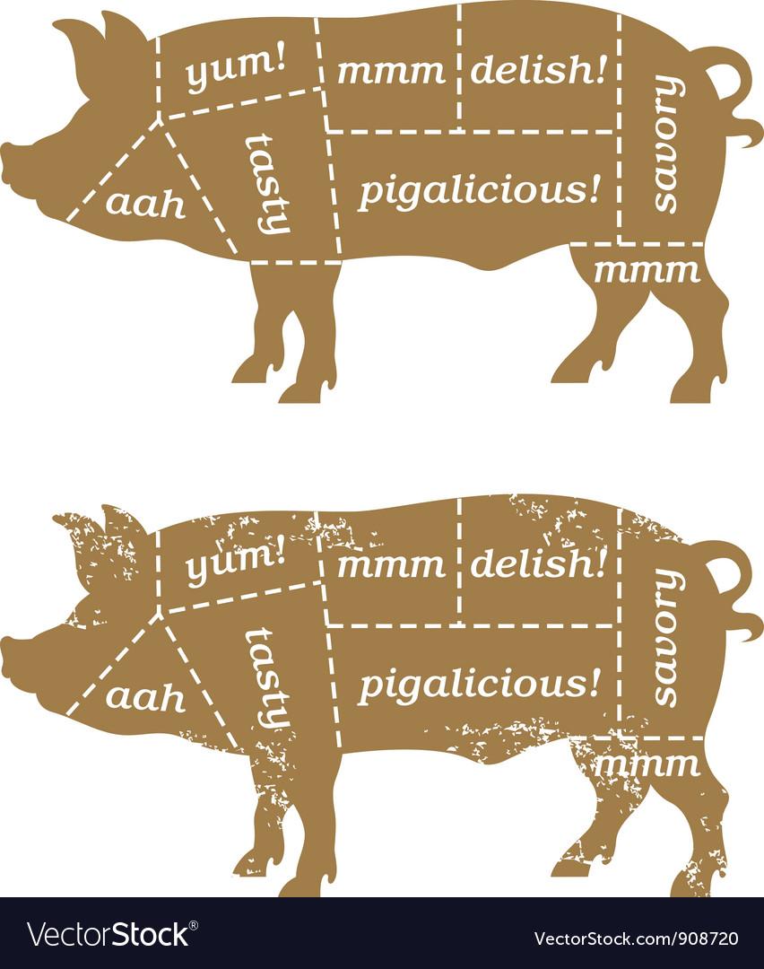 Barbecue pig design element vector