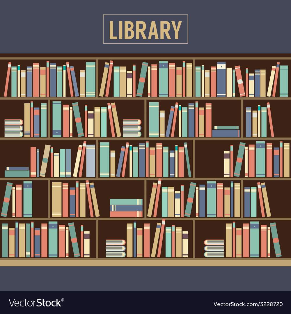 Bookcase in library vector