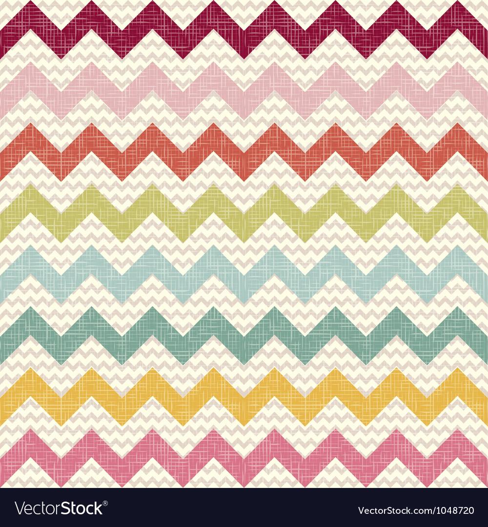 Seamless color chevron pattern on linen texture vector