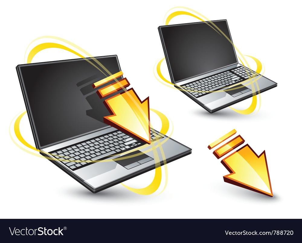 Wireless laptop computers vector