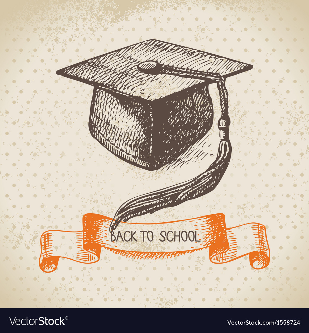 Hand drawn back to school vintage background vector
