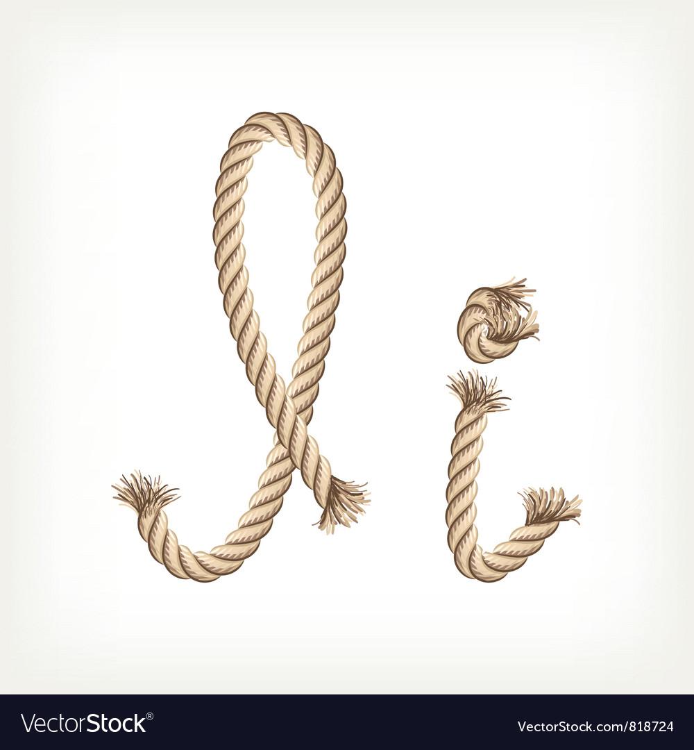 Rope alphabet letter i vector