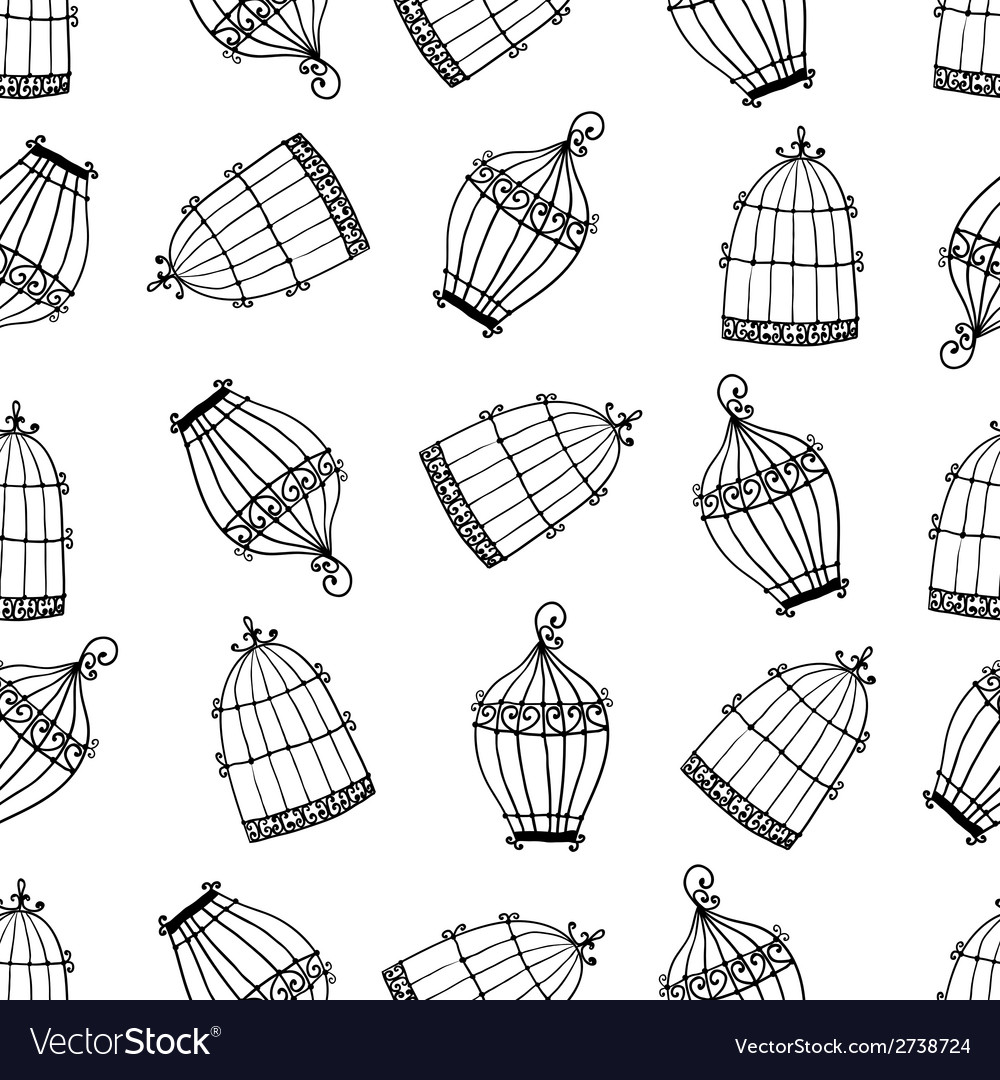 Seamless pattern with birdcages vector
