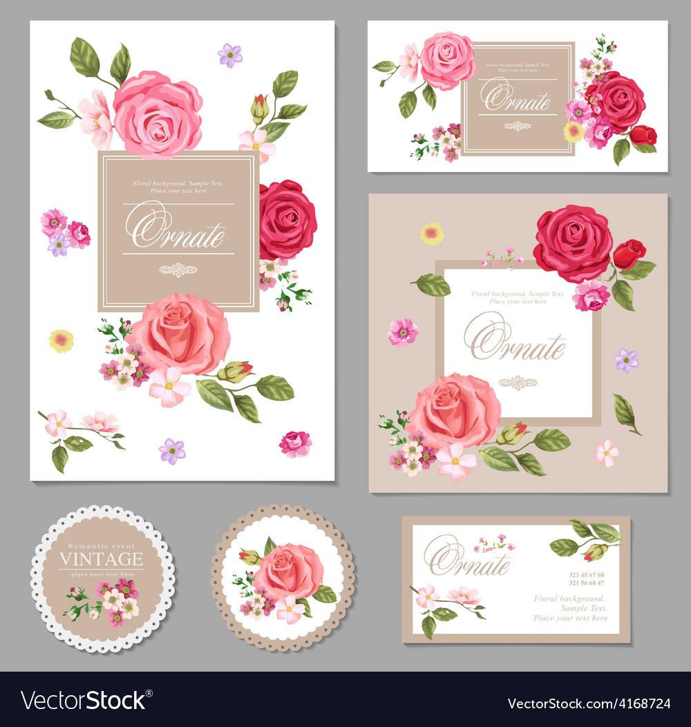 Set of floral vintage cards vector